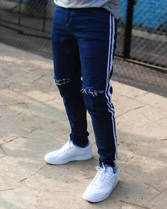 Shop Dark Blue Knee Zipped Denim Jeans-Back