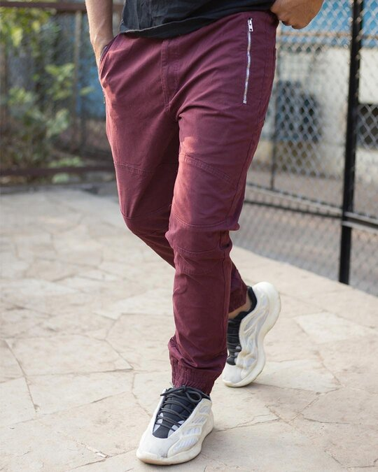 Shop Maroon With Side Zip Pocket Cargo Pant-Front