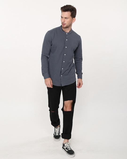 Shop Urban Grey Mandarin Collar Full Sleeve Pique Shirt-Full
