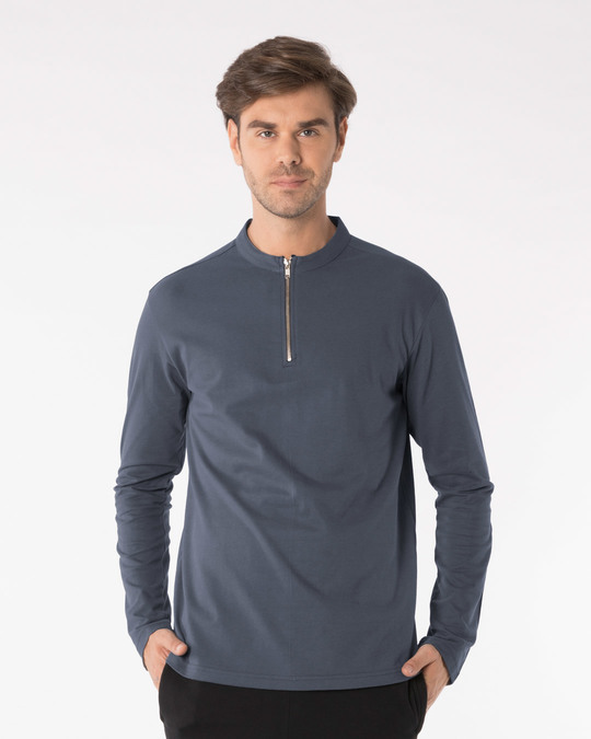 Shop Urban Grey Zip Henley Full Sleeve Pique T-Shirt-Front
