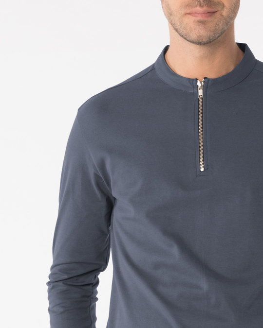 Shop Urban Grey Zip Henley Full Sleeve Pique T-Shirt