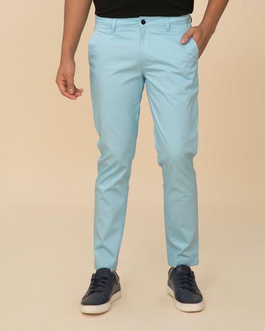 Shop Utah Sky Blue Slim Fit Cotton Chino Pants-Front