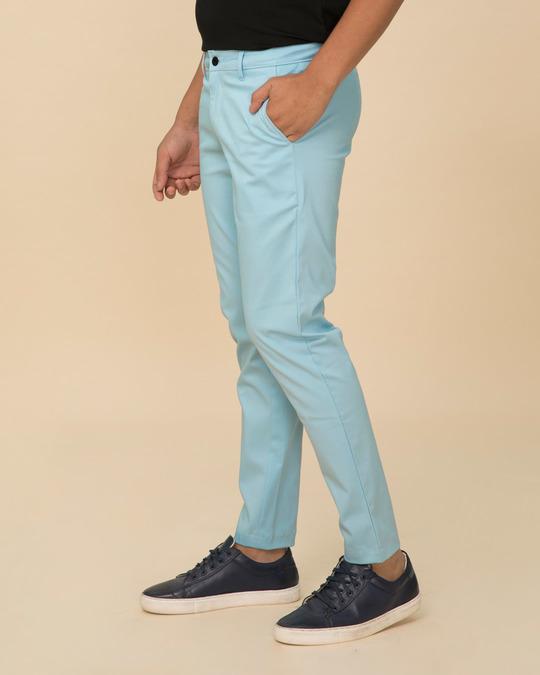 Shop Utah Sky Blue Slim Fit Cotton Chino Pants-Back