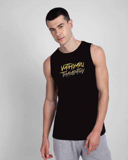 Shop Vaathi Round Neck Vest Black-Front