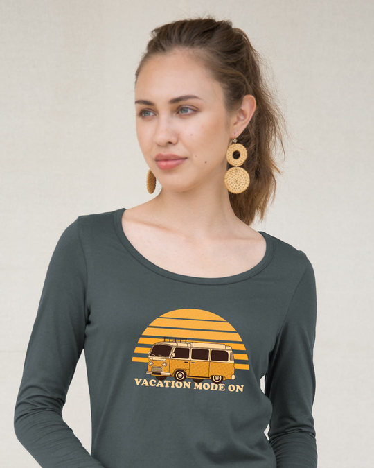 Shop Vacation Mode On Scoop Neck Full Sleeve T-Shirt-Front