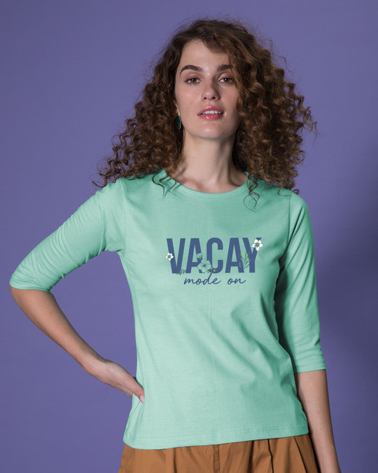 Shop Vacay Mode Round Neck 3/4th Sleeve T-Shirt-Front