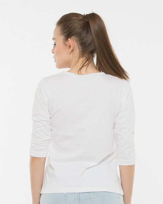 Shop White Round Neck 3/4th Sleeve T-Shirt-Design
