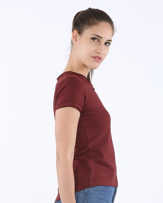 Varsity maroon raw edge t shirt plain womens raw edge t for Raw edge t shirt women s