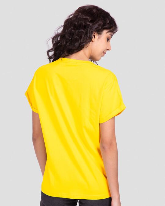 Shop Vath Thi Gujarati Boyfriend T-Shirt Pineapple Yellow-Back