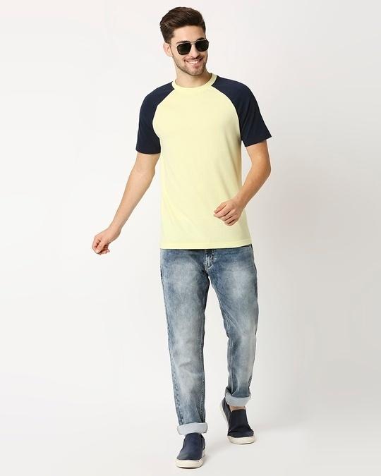 Shop Vax Yellow Raglan Half Sleeves T-Shirt