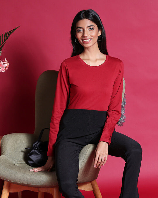 Shop Cherry Red Full Sleeve T-Shirt-Front