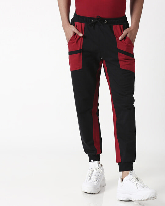 Shop Cherry Red Diagonal Pocket Jogger-Back