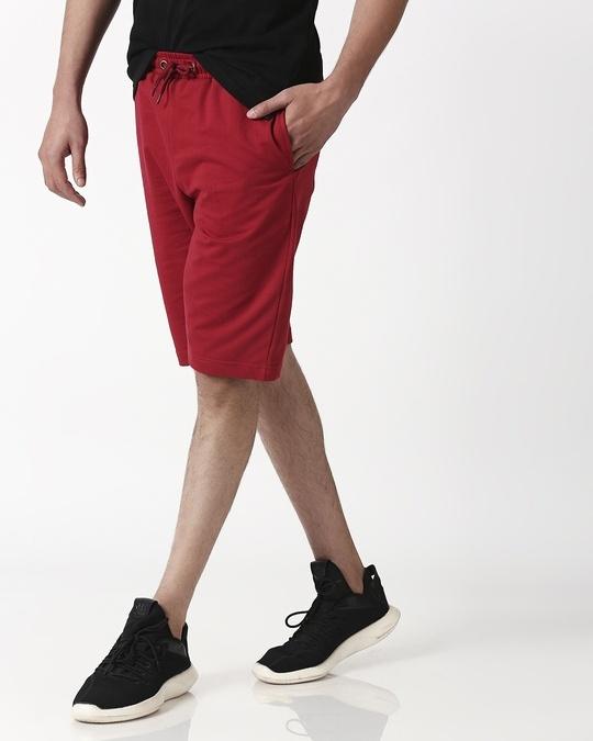 Shop Cherry Red Plain Shorts-Front