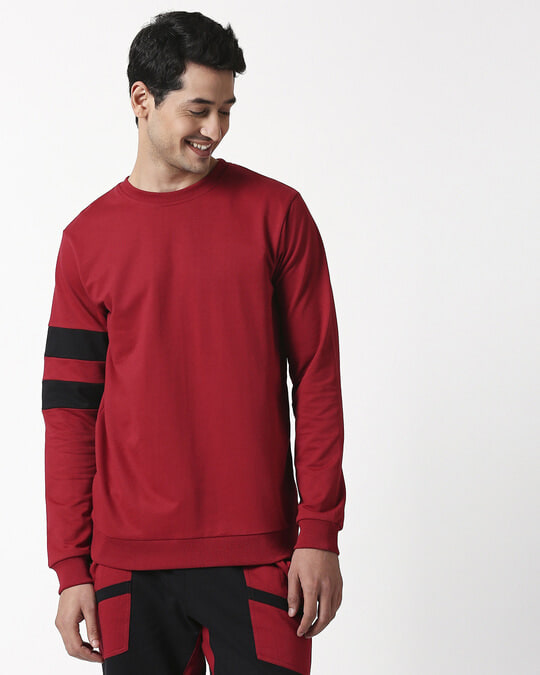 Shop Cherry Red Sports Trim Fleece Sweater-Back