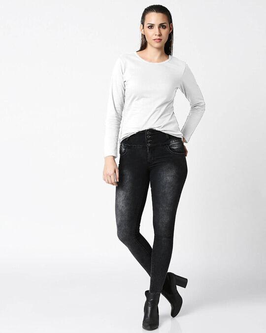 Shop Velvet Cake-White Full Sleeves Combo T-shirt