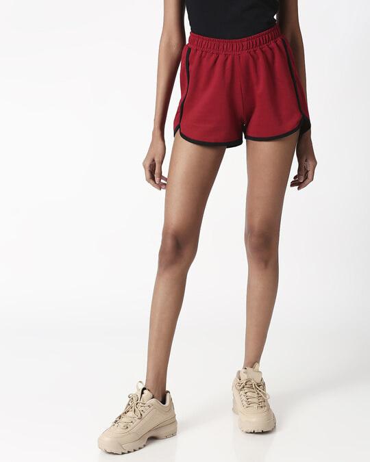 Shop Cherry Red Plain Shorts-Back