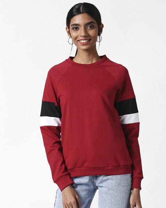 Shop Cherry Red Sports Trim Sweater-Design