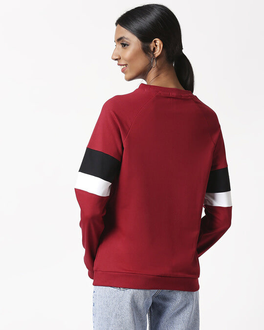 Shop Cherry Red Sports Trim Sweater-Full
