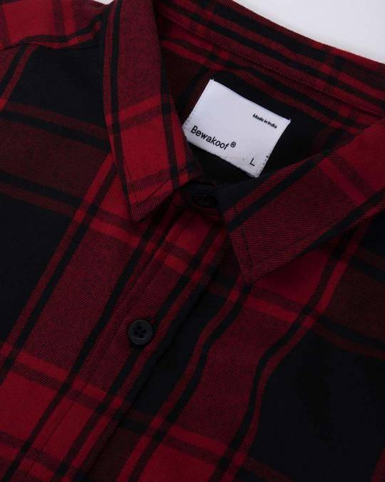 Shop Vermillion Red Checked Full Sleeve Shirt