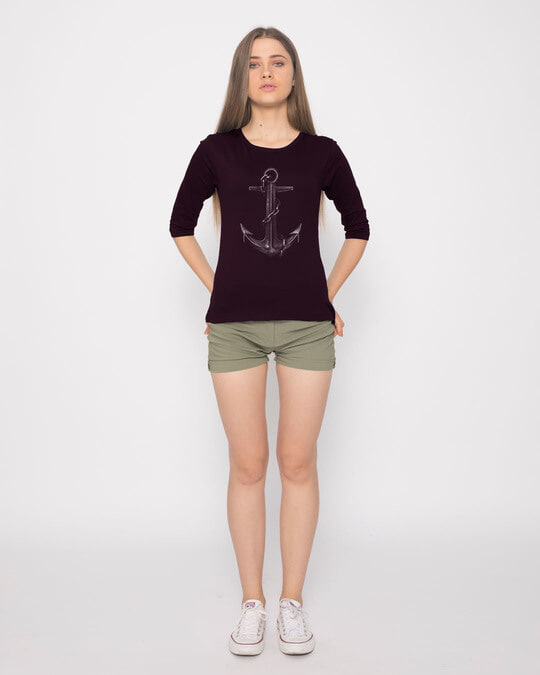 Shop Vintage Anchor Round Neck 3/4th Sleeve T-Shirt