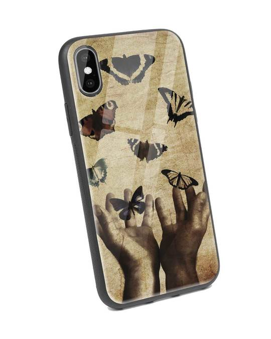 Shop Vintage Butterflies iPhone XS Glass Mobile Cover-Back