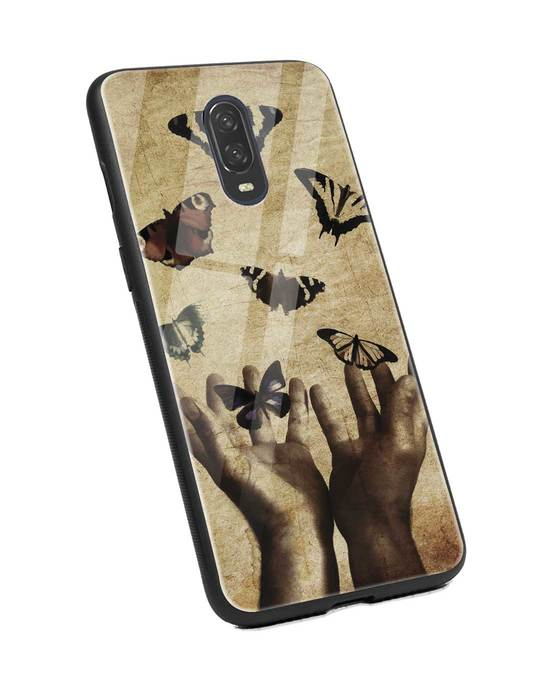 Shop Vintage Butterflies OnePlus 6T Glass Mobile Cover-Back