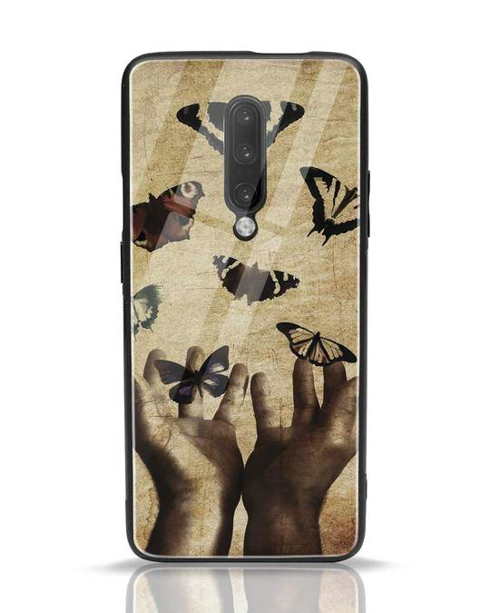 Shop Vintage Butterflies OnePlus 7 Pro Glass Mobile Cover-Front