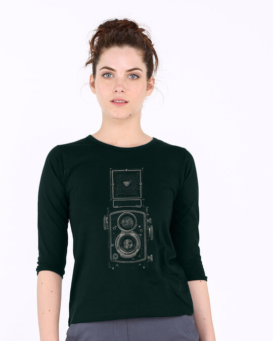 Shop Vintage Click Round Neck 3/4th Sleeve T-Shirt-Front