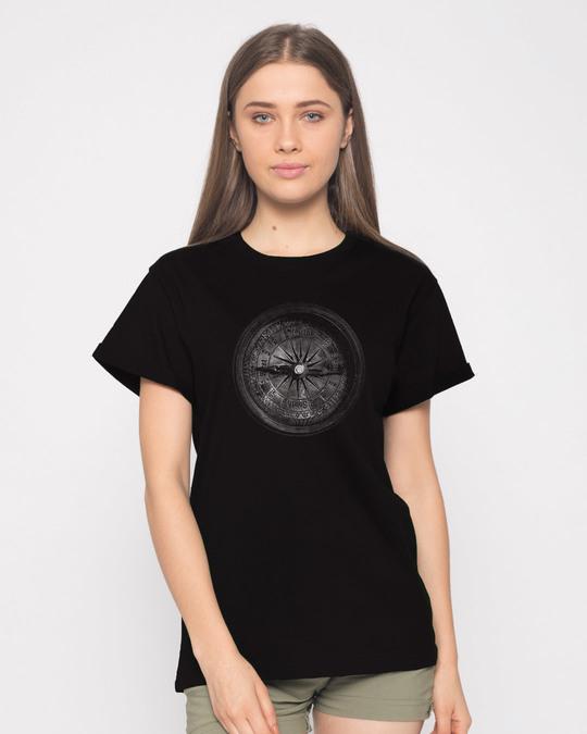 Shop Vintage Compass Boyfriend T-Shirt-Front