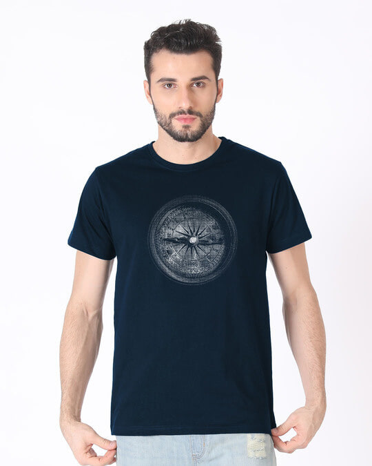 Shop Vintage Compass Half Sleeve T-Shirt-Back