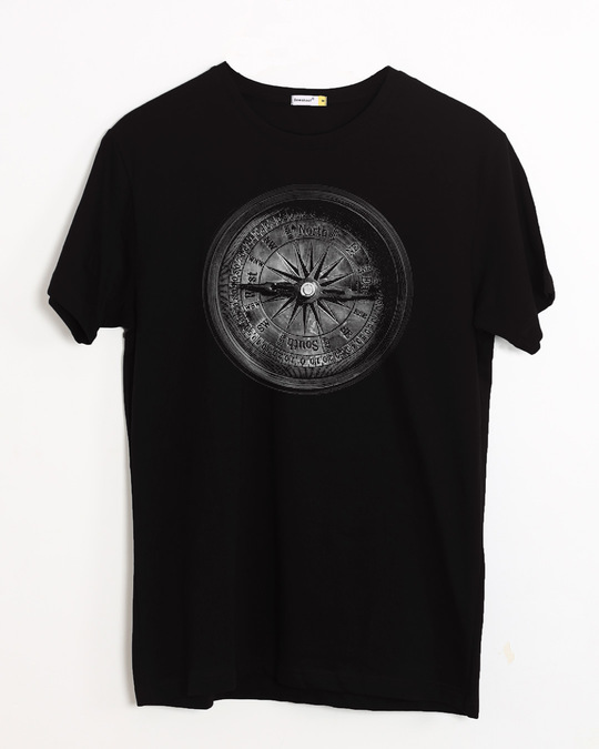 Shop Vintage Compass Half Sleeve T-Shirt-Front
