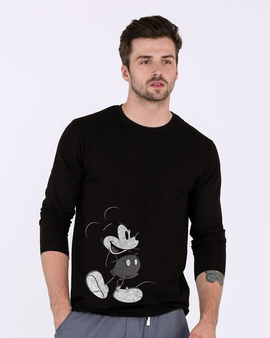 Shop Vintage Mickey Full Sleeve T-Shirt (DL)-Front