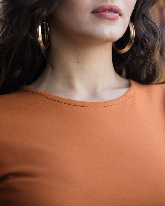 Shop Vintage Orange Basic Round Hem T-Shirt