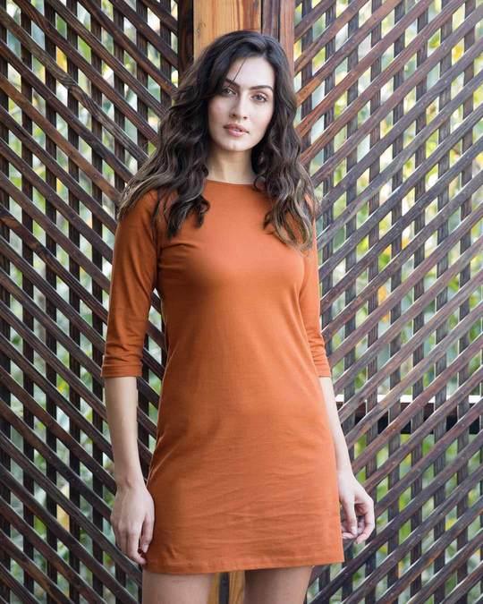 Shop Vintage Orange Boat Neck 3/4th Sleeve Dress-Front