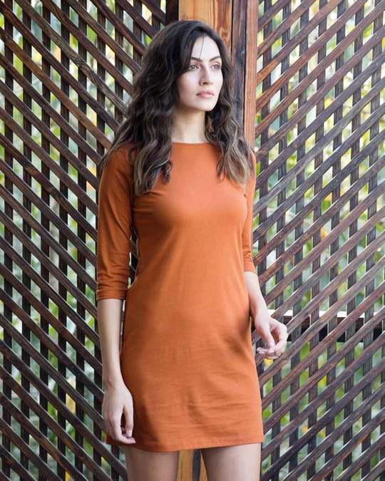 Shop Vintage Orange Boat Neck 3/4th Sleeve Dress-Back