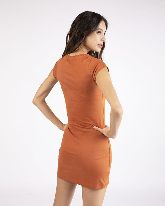 Shop Vintage Orange Cap Sleeve Plain T-Shirt Dress-Design