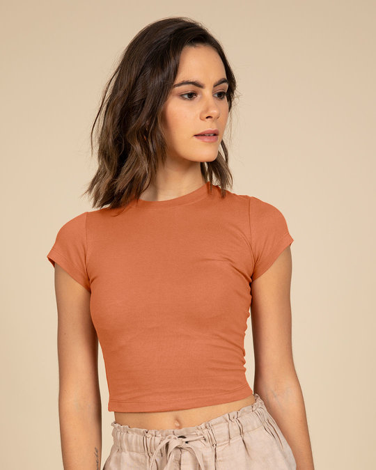 Shop Vintage Orange Crop Top-Front