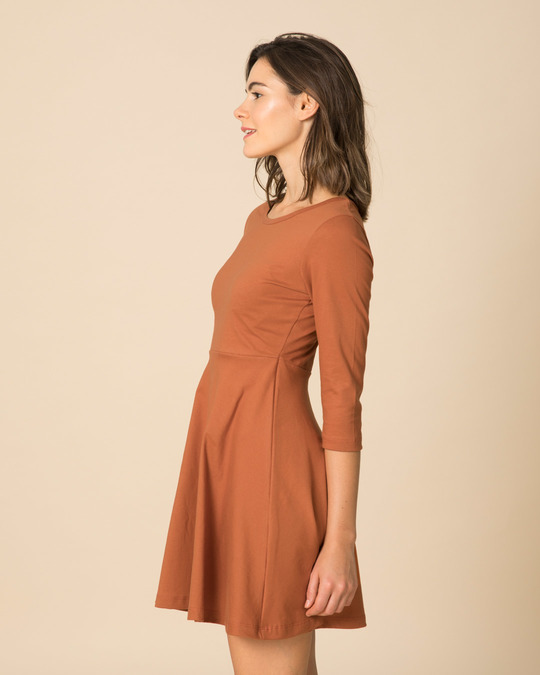 Shop Vintage Orange Flared Dress-Full