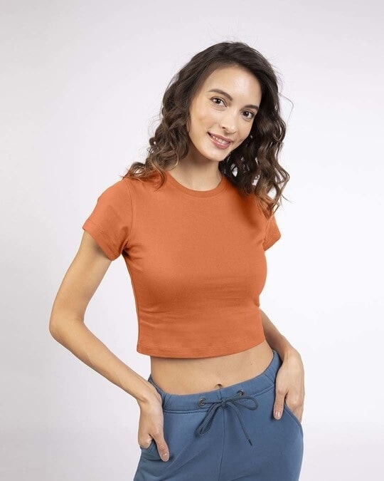 Shop Vintage Orange Crop Top T-Shirt-Front