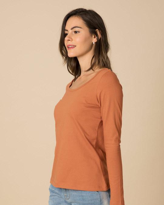 Shop Vintage Orange Scoop Neck Full Sleeve T-Shirt-Full