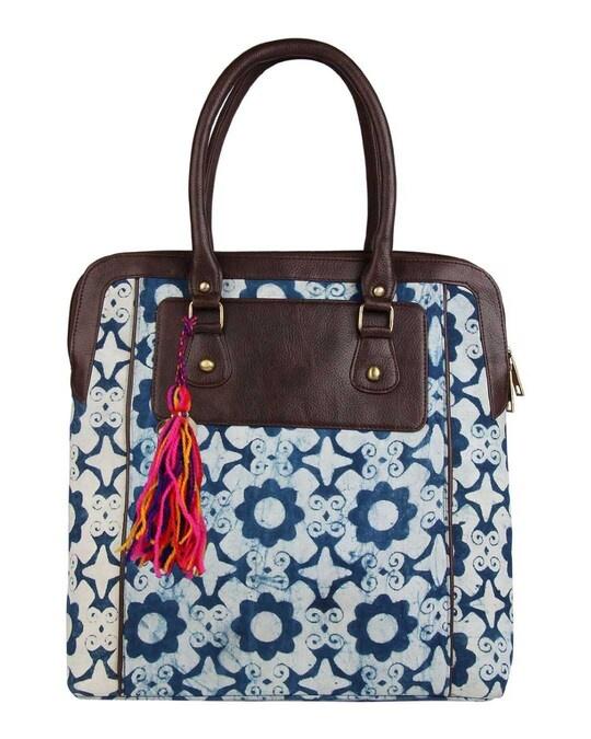 Shop Ethnic Blue London Print Tote Bag-Front