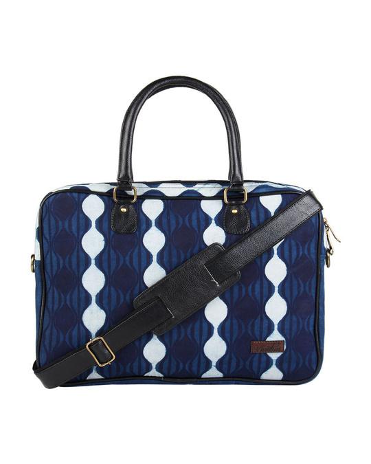 Shop Ethnic Print Indigo Blu Love Laptop Bag-Front