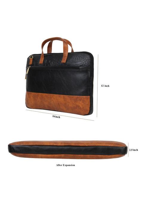 Shop Faux Leather Black/Tan Padded Laptop Messenger Bag For Men & Women-Full