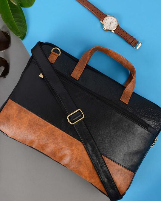 Shop Faux Leather Black/Tan Padded Laptop Messenger Bag For Men & Women