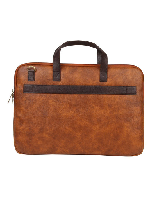 Shop Faux Leather Brown/Tan Padded Laptop Messenger Bag For Men & Women-Design