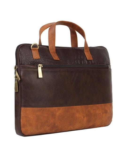 Shop Faux Leather Coffee/Tan Padded Laptop Messenger Bag For Men & Women-Back