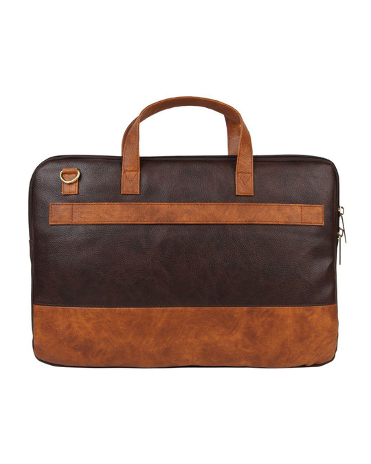 Shop Faux Leather Coffee/Tan Padded Laptop Messenger Bag For Men & Women-Design