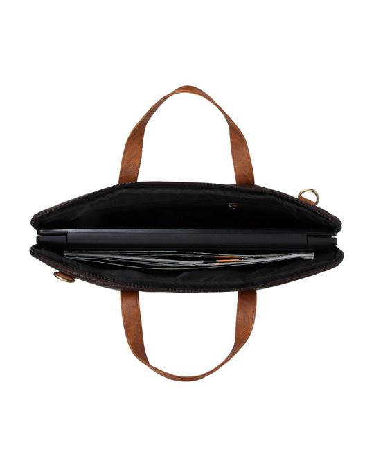 Shop Faux Leather Coffee/Tan Padded Laptop Messenger Bag For Men & Women-Full