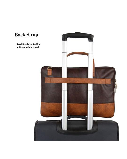 Shop Faux Leather Coffee/Tan Padded Laptop Messenger Bag For Men & Women