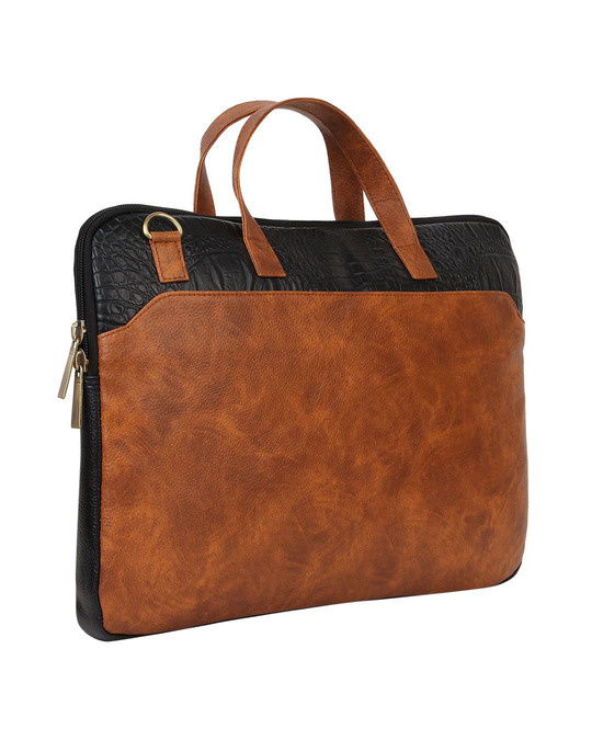 Shop Faux Leather Tan/Black Padded Laptop Messenger Bag For Men & Women-Back